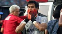 Kiper Madura United, Muhammad Ridho. (Bola.com/Aditya Wany)