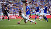 Duel antara Leicester City versus Manchester City di Liga Inggris 2021/2022. (LINDSEY PARNABY / AFP)
