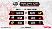 Link Live Streaming MPL Indonesia Season 8 Pekan Ketujuh di Vidio, Sabtu 25 September 2021. (Sumber : dok. vidio.com)