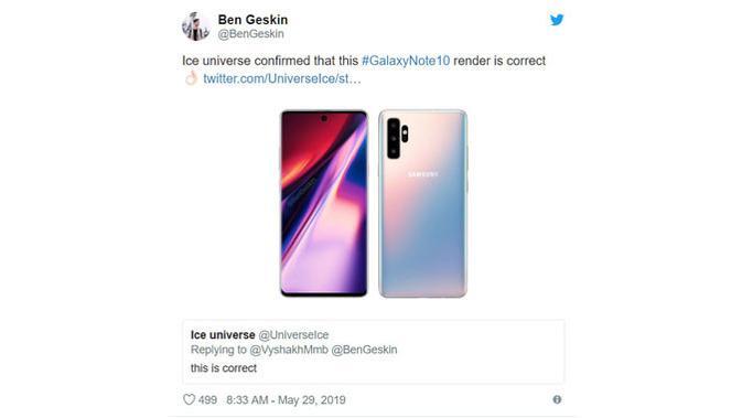 Bocoran gambar Galaxy Note 10. (Doc: Ben Geskin)
