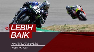 Berita video Maverick Vinales kembali meraih posisi lebih baik dalam balapan dibanding rekan setimnya, Valentino Rossi, di MotoGP 2019.