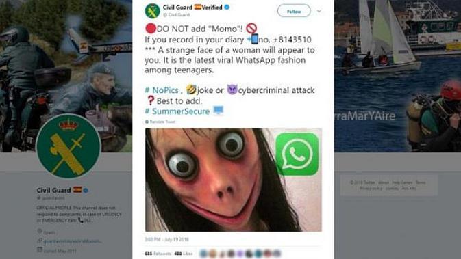 Momo Challange (sreenshot Guardia Civil/Twitte)