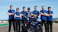 Galang Hendra saat mengikuti seri perdana WorldSSP 2021 di Sirkuit Motorland Aragon. (Yamaha Indonesia)