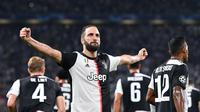 Selebrasi Gonzalo Higuain saat Juventus menghajar Bayer Leverkusen (AP)