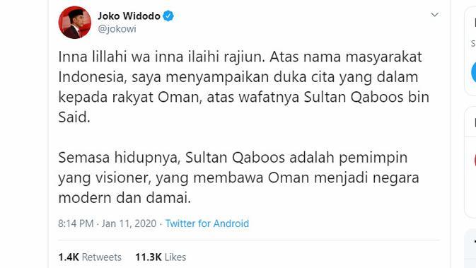 Presiden Jokowi menyampaikan belasungkawa atas meninggalnya Sultan Qaboos bin Said Al Said dari Oman.