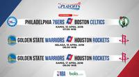 Jadwal NBA, Philadelphia 76ers vs Boston Celtics dan Golden State Warriors vs Houston Rockets. (Bola.com/Dody Iryawan)