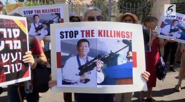 Presiden Filipina, Rodrido Duterte, mendapat penolakan oleh warga Israel, saat kunjungan perdananya ke negeri tersebut.