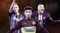 Pemain yang dibutuhkan Manchester City untuk juara Liga Champions musim depan: Milan Skriniar, Jadon Sancho dan Kylian Mbappe. (Bola.com/Dody Iryawan)