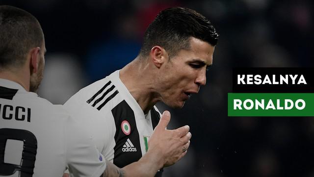 Cristiano Ronaldo frustrasi pada pertandingan Juventus menghadapi AS Roma dalam lanjutan Serie A, Minggu (23/12/2018) dinihari WIB.