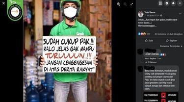 Gambar Tangkapan Layar Foto yang Diklaim Pengemudi Ojol Minta Jokowi Turun dari Kursi Presiden (sumber: Facebook).