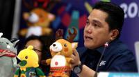 Ketua Inasgoc, Erick Thohir saat konferensi pers terkait kegiatan torch relay atau kirab obor Asian Games 2018. (Humas Inasgoc)