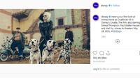 Penampilan Punk Rock Emma Stone memerankan tokoh Cruella de Vil di film 101 Dalmatians. (Screenshot Instagram @disney/https://www.instagram.com/p/B1jn2ATnYsW/Putu Elmira)