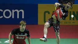 Aksi ganda putera Indonesia, Kevin Sanjaya / Marcus Gideon saat menghadapi Li Junhui/Liu Yuchen pada semifinal Indonesia Open 2019. ( Bola.com/Peksi Cahyo )