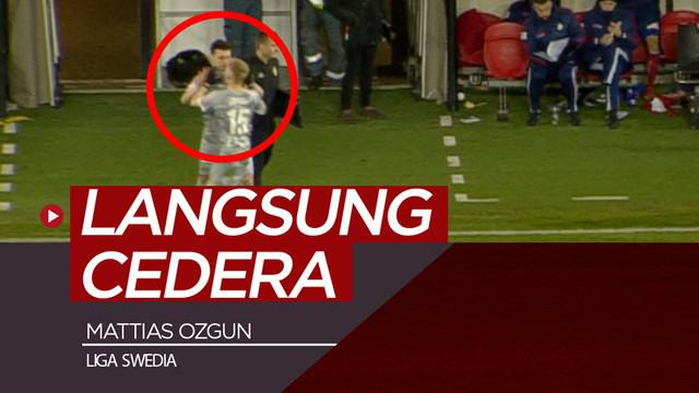 Berita video pemain klub Swedia, Degerfors, Mattias Ozgun, langsung mengalami cedera di bagian mata, padahal dirinya baru saja masuk lapangan.