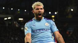 1. Sergio Aguero (Manchester City) - Sergio Aguero bergabung dengan Manchester City pada 2010 dan mengoleksi 4 gelar Premier League. Total, dia menyumbangkan 180 gol untuk The Citizen di ajang Premier League. (AFP/Oli Scarff)