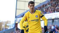 Ekspresi striker Chelsea Alvaro Morata usai merobek gawang Burnley pada laga Liga Inggris di Turf Moor, Minggu (29/10/2018). (AFP/Lindsey Parnaby)