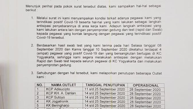 Kronologi 7 Outlet Bni Yogyakarta Tutup Karena 4 Pegawai Positif Covid 19 Regional Liputan6 Com