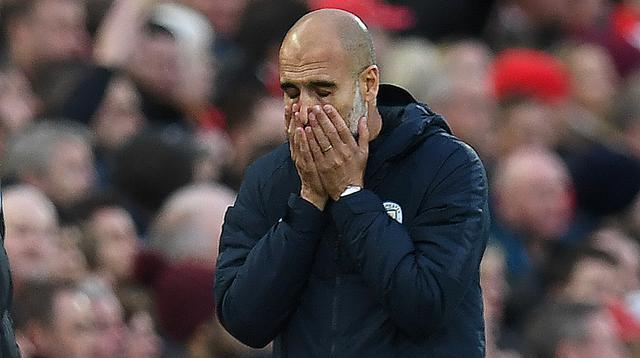 Pep Guardiola memimpin Manchester City meraih hasil imbang ketika melawan Liverpool di Anfield (7/10/2018). (AFP/Paul Ellis)