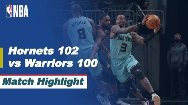 Berita video highlights NBA, Charlotte Hornets vs Golden State Warriors 102-100, Minggu (21/2/21)