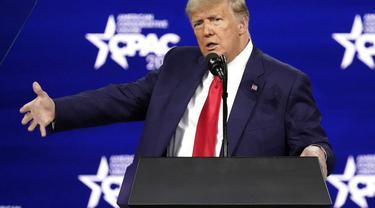 Mantan Presiden Donald Trump tampil di CPAC 2021.