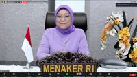 Menaker Ida Fauziyah memberi sambutan untuk diselenggarakannya Virtual Race (istimewa)