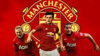 Manchester United - Wayne Rooney, Harry Maguire, Rio Ferdinand (Bola.com/Adreanus Titus)