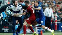 Manajer Chelsea, Frank Lampard, mengaku cukup puas dengan penampilan anak asuhnya saat kalah dari Liverpool pada laga Piala Super Eropa 2019 di Vodafone Park, Istanbul, Rabu (4/8/2019) malam waktu setempat. (AP Photo/Lefteris Pitarakis)