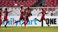 Timnas Qatar U-19 lolos ke Piala Dunia U-20 2019 setelah mengalahkan Thailand 7-3 di perempat final Piala AFC U-19 2018 di SUGBK, Jakarta, Minggu (28/10/2018). (Bola.com/Dok. AFC)