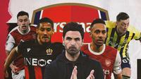 Gabriel Martinelli, William Saliba, Pierre-Emerick Aubameyang, Mesut Ozil dan Mikel Arteta. (Bola.com/Dody Iryawan)