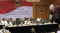 Menkopolhukam Wiranto memimpin rapat koordinasi kesiapan keamanan pengamanan tahapan kampanye terbuka bersama Polri, TNI, KPU, dan Bawaslu, serta jajaran kementerian dan lembaga lainnya.(Www.sulawesita.com)