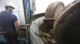 Seorang staf bekerja di sebuah pabrik pengolahan minyak zaitun di Borj Qalaouiye, Lebanon selatan, pada 18 Oktober 2020. Beberapa wilayah di Lebanon selatan masih menggunakan cara-cara tradisional untuk mengekstraksi minyak dari buah zaitun. (Xinhua/Bilal Jawich)