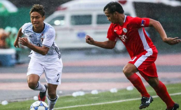 Timnas Jepang U-22 vs Timnas Filipina U-22 di laga pertama penyisihan Grup J kualifikasi Piala AFC U-23 di Olympic Stadium, Phnom Penh, Rabu (19/7/2017). (Bola.com/AFC)