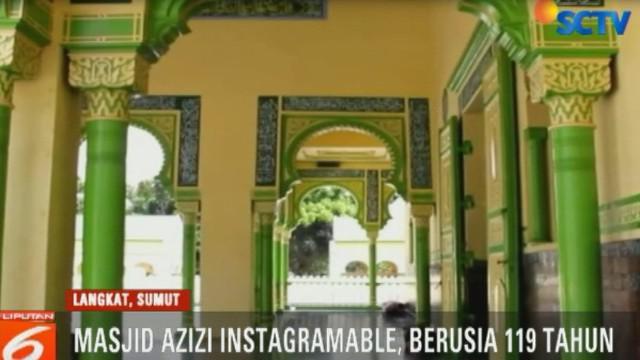 Masjid Raya Azizi yang terletak di jalan lintas Sumatra Medan-Aceh, di Kecamatan Tanjung Pura, Langkat, cocok untuk tempat berfoto sambil ngabuburit. Apa pasal?
