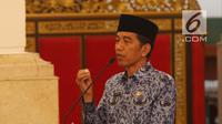 Presiden Jokowi membuka Rapat Kerja Nasional Korps Pegawai Republik Indonesia (KORPRI) di Istana Negara, Selasa (26/2). Jokowi meminta seluruh aparatur negara mampu merespons perkembangan teknologi yang berjalan sangat cepat. (Liputan6.com/Angga Yuniar)