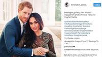 Berikut penampilan Meghan Markle yang cantik dalam balutan gaun transparan saat foto resmi pertunangannya bersama pangeran Harry. (Foto: instagram/kensington_palace_)
