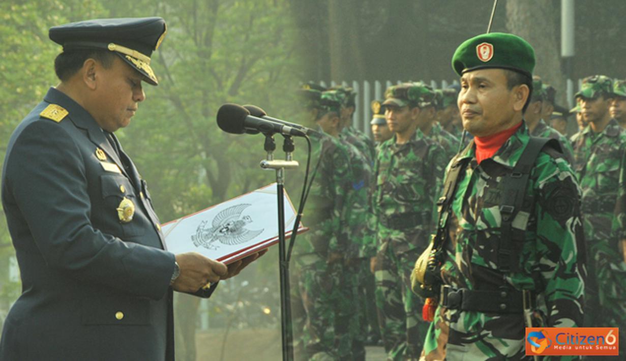 Citizen6, Cilangkap: Asisten Personel Panglima TNI Marsekal Muda TNI Bambang Wahyudi bertindak sebagai Inspektur Upacara (Irup) yang bertempat di Lapangan Upacara Mabes TNI Cilangkap, Jakarta. (Pengirim: Badarudin Bakri)
