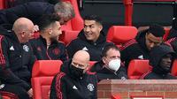 Cristiano Ronaldo tampil sebagai pemain pengganti saat Manchester United ditahan 1-1 Everton pada laga pekan ketujuh Premier League di Old Trafford, Sabtu (2/10/2021) malam WIB. (AFP/Oli Scarff)