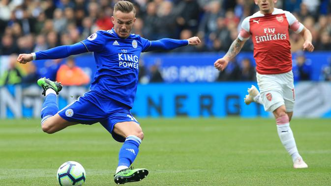 Pemain Leicester City, James Maddison. (AFP/Lindsey Parnaby)