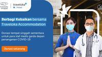 Program Traveloka agar penggunanya dapat memberikan donasi berupa tempat singgah sementara bagi tenaga medis. (sumber: ist)
