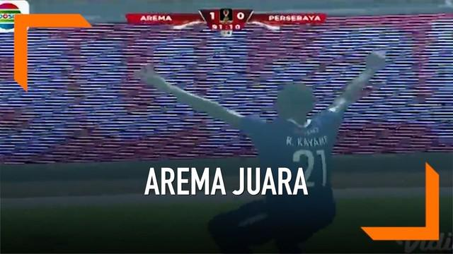 Arema FC berhasil menjuarai Piala Presiden 2019 yang ditayangkan usai mengalahkan Persebaya Surabaya 2-0 pada leg kedua babak final di Stadion Kanjuruhan.