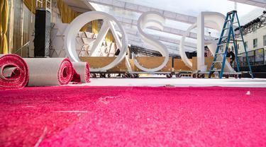 Pandangan umum dari karpet merah ajang bergengsi Academy Awards ke-92 atau Oscar 2020 di Hollywood & Highland, Hollywood, California, pada Rabu (5/1/2020). Academy Awards ke-92 akan berlangsung pada 9 Februari 2020 waktu setempat atau 10 Februari waktu Indonesia. (VALERIE MACON / AFP)
