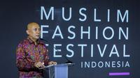 Menteri Koperasi dan UKM Teten Masduki, pada acara pembukaan Muslim Fashion Festival (Muffest) 2021 bertema Recover for Fashion, di Kota Kasablanka, Jakarta, Kamis (18/3/2021).