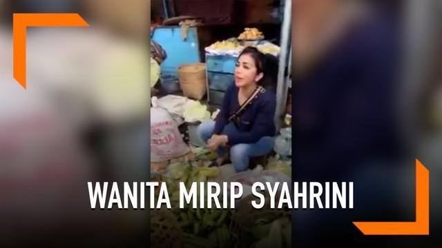 Seorang penjual sayur asal Purwokerto menjadi viral. Lantaran penampilannya yang mirip dengan Syahrini.