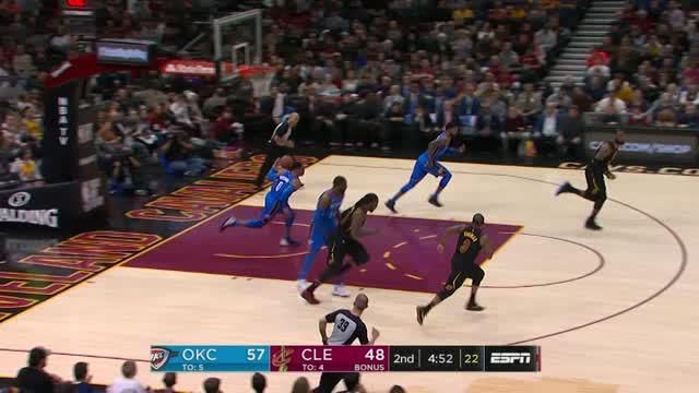 Berita video game recap NBA 2017-2018 antara Oklahoma City Thunder melawan Cleveland Cavaliers dengan skor 148-124.