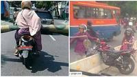 Aksi Emak-emak Saat di Atas Motor Ini Bikin Geregetan (sumber:Instagram/emaksiapanih)