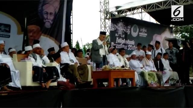 Cawapres no urut 1 Ma'ruf Amin menghadiri istighosah kubro di Trenggalek Jawa Timur hari Selasa (22/01).