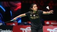 Tunggal putri Indonesia Gregoria Mariska Tunjung beraksi pada Piala Uber 2020 di Ceres Arena, Aarhus, Senin (11/10/2021). (foto: BWF-Limited Access)