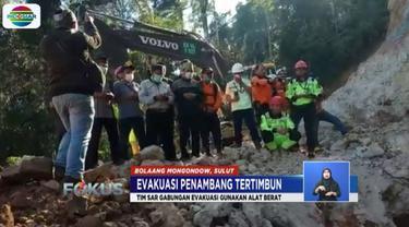 Tim SAR turunkan alat berat untuk evakuasi sekitar 60 penambang emas liar di Bolaang Mongondow, Sulawesi Utara.