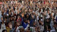 Potres besar-besaran di Pakistan menolak pembebasan Asia Bibi yang dituduh menistakan agama (AP/Shakil Adi)