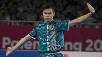 Atlet Wushu, Edgar Xavier, saat beraksi pada nomor Cangquan putra Asian Games di JIExpo, Jakarta, Minggu, (19/8/2018). Edgar Xavier berhasil meraih perak dengan angka 9.72. (Bola.com/Vitalis Yogi Trisna)